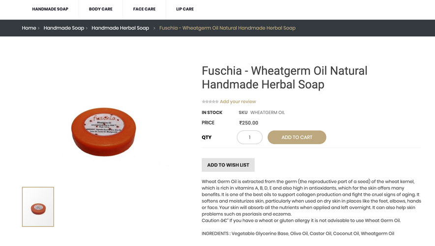 Description of a herbal soap by Fuschia