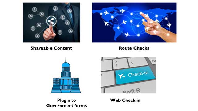 Travel Safe helps you with Route Checks, web-check-in and access to shareable content and (Plugin to) Government forms.