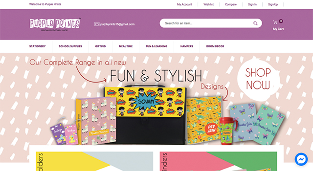 Purple prints personalised stationery
