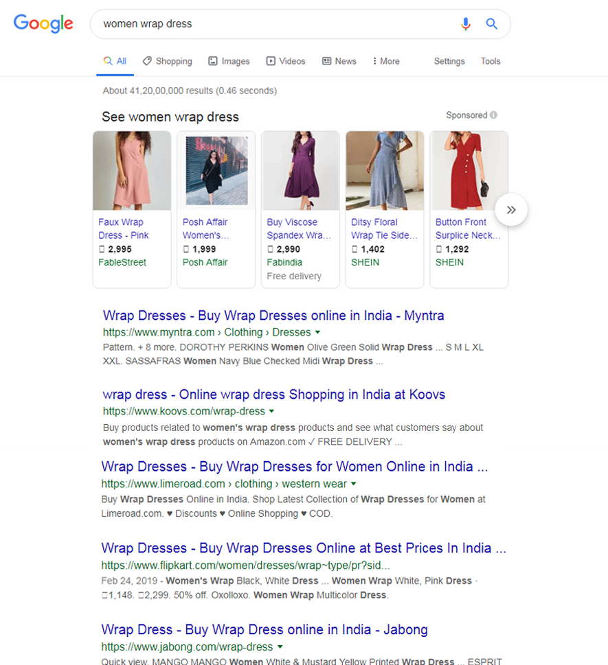 Google search result showing women wrap dresses online