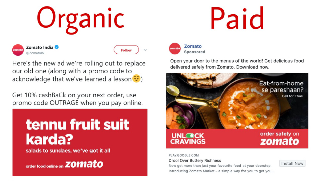 Zomato's social media posts and advertisements