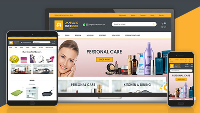 Mahavir home store's online store with Globallinker's eCommerce platfrom
