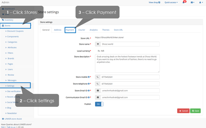 Payment gateway activate page