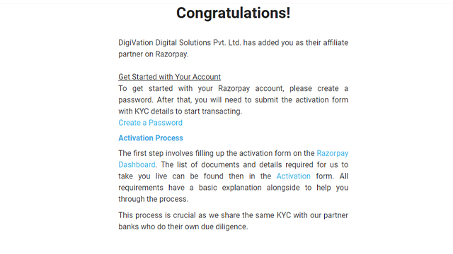 activation email from razorpay